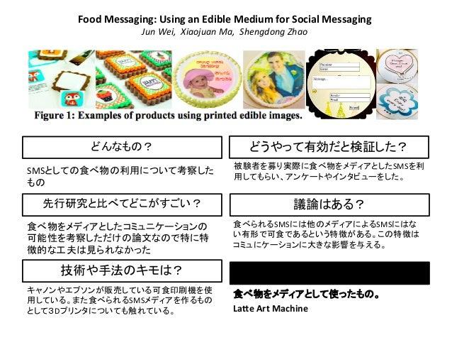 Food  Messaging:  Using  an  Edible  Medium  for  Social  Messaging   Jun  Wei,    Xiaojuan  Ma,...