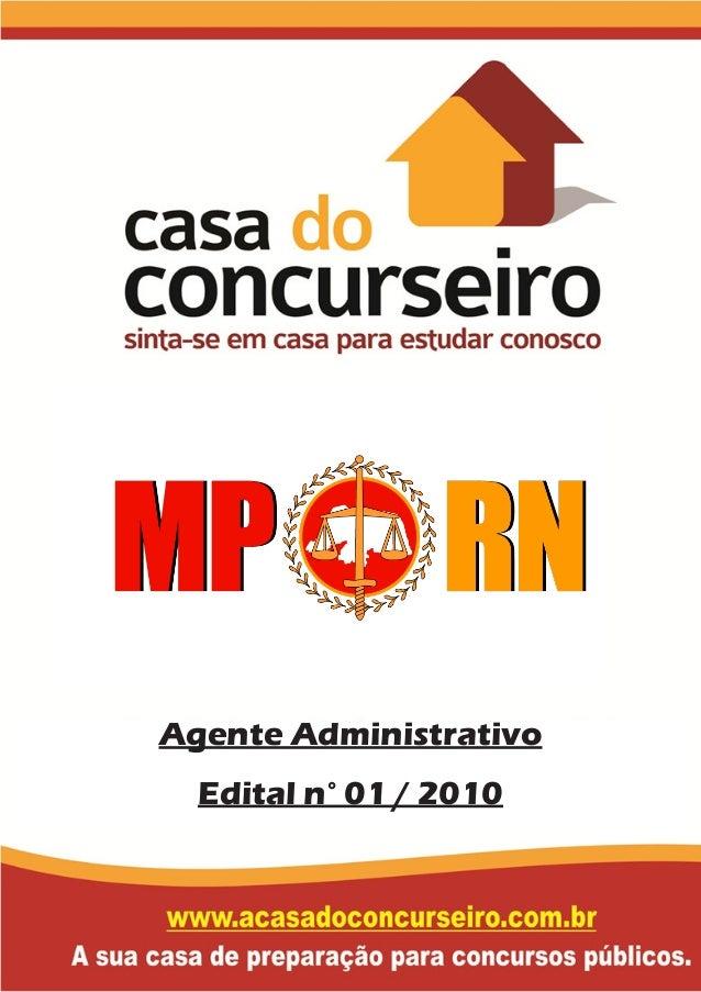 Agente Administrativo Edital n° 01 / 2010