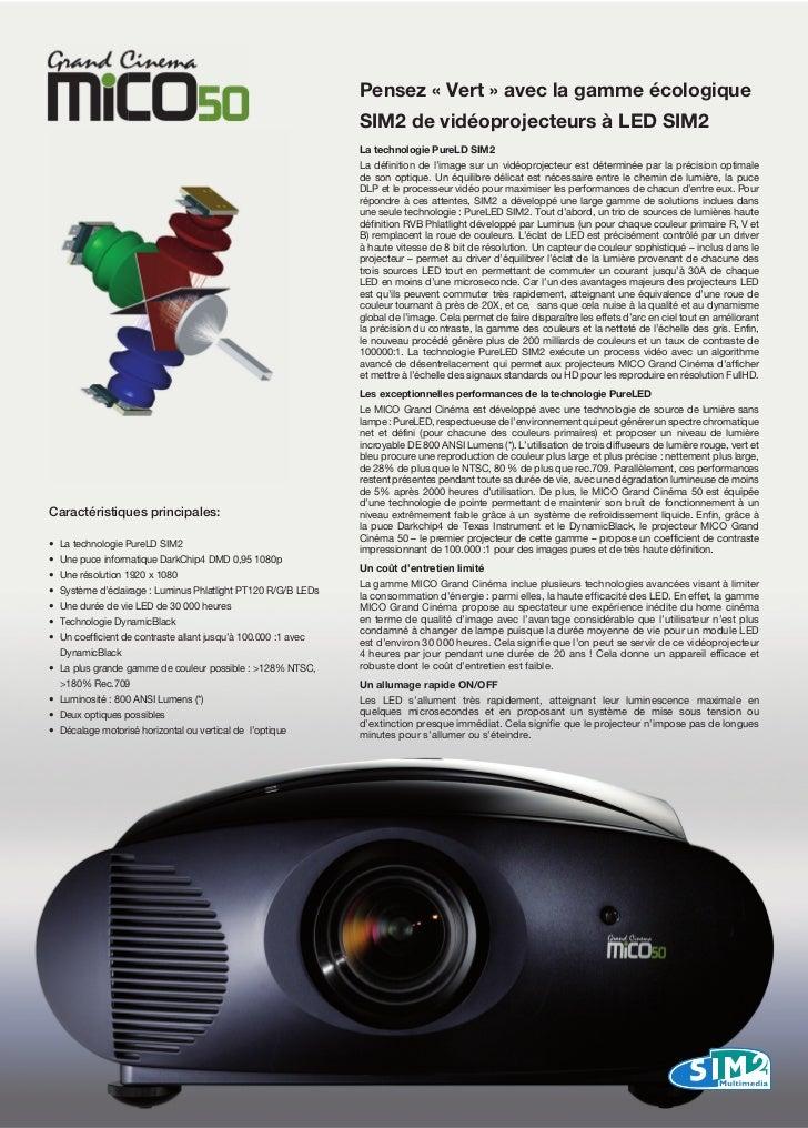 Pensez « Vert » avec la gamme écologique                                                                 SIM2 de vidéoproj...