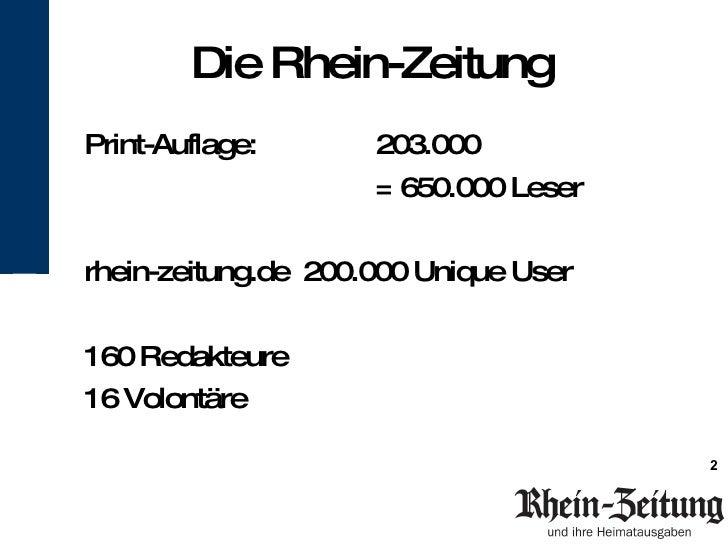 Vortrag bei FTOJ: Rhein-Zeitung: Print umarmt Social Media Slide 2
