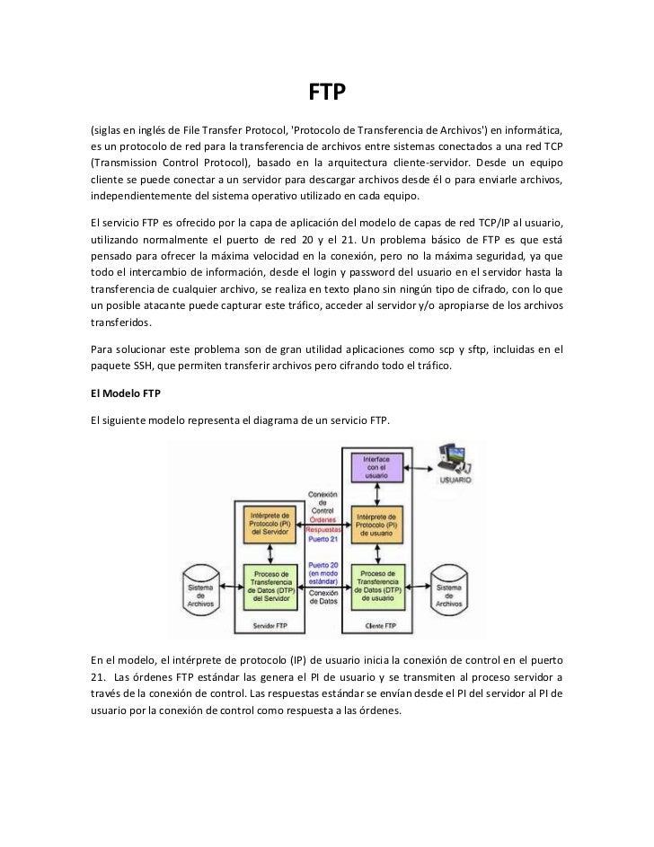 FTP(siglas en inglés de File Transfer Protocol, Protocolo de Transferencia de Archivos) en informática,es un protocolo de ...
