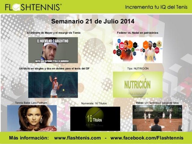 Semanario 21 de Julio 2014 El primero de Mayer y el resurgir de Tomic Federer vs. Nadal en patrocinios Tennis Babe: Lara F...