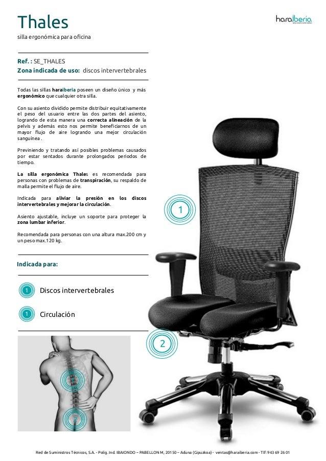 Ficha t cnica de la silla ergon mica para oficina thales - Silla ergonomica oficina ...