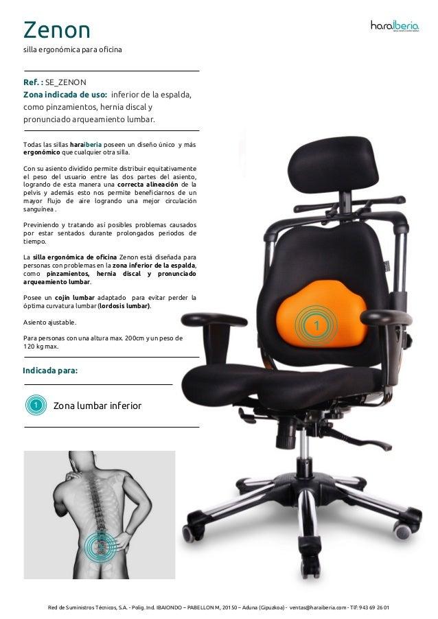 Ficha t cnica de la silla ergon mica para oficina zenon for Sillas ergonomicas para oficina precio