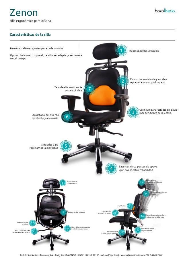 Ficha técnica de la silla ergonómica para oficina Zenon