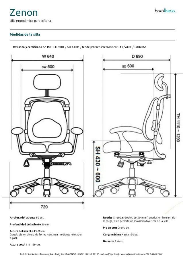 Ficha Tecnica De La Silla Ergonomica Para Oficina Zenon