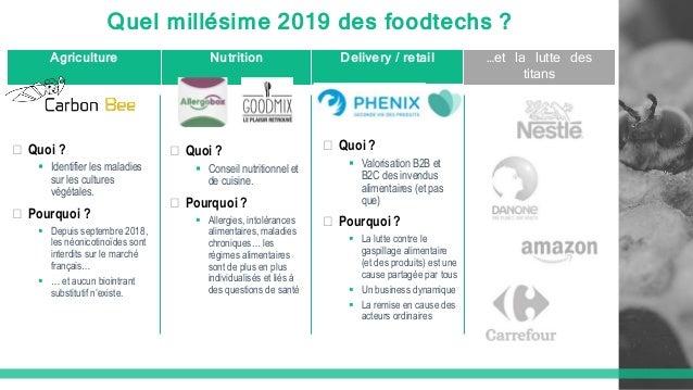 Quel millésime 2019 des foodtechs ? Agriculture Nutrition Delivery / retail …et la lutte des titans � Quoi ?  Identifier ...