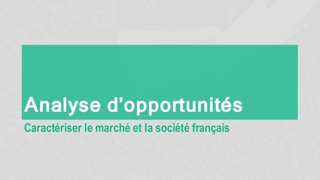 Analyse d'opportunités Caractériser le marché et la société français