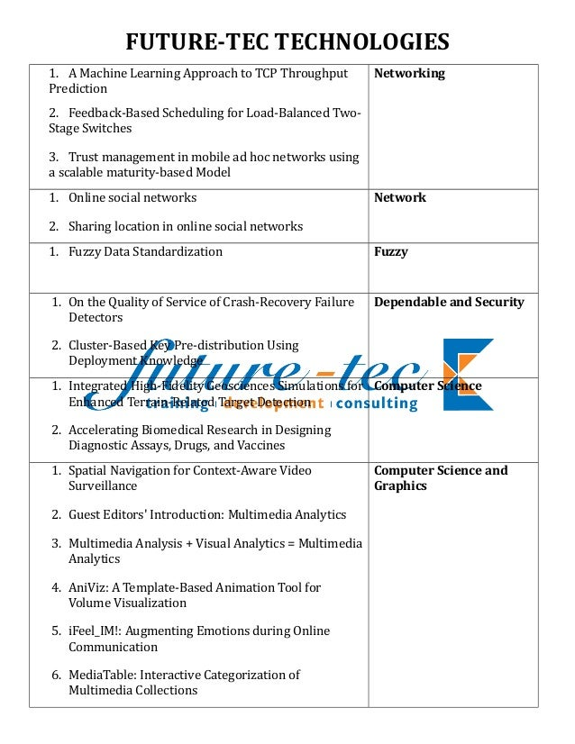 FUTURE-TEC TECHNOLOGIES 1. A Machine Learning Approach to TCP Throughput Prediction 2. Feedback-Based Scheduling for Load-...
