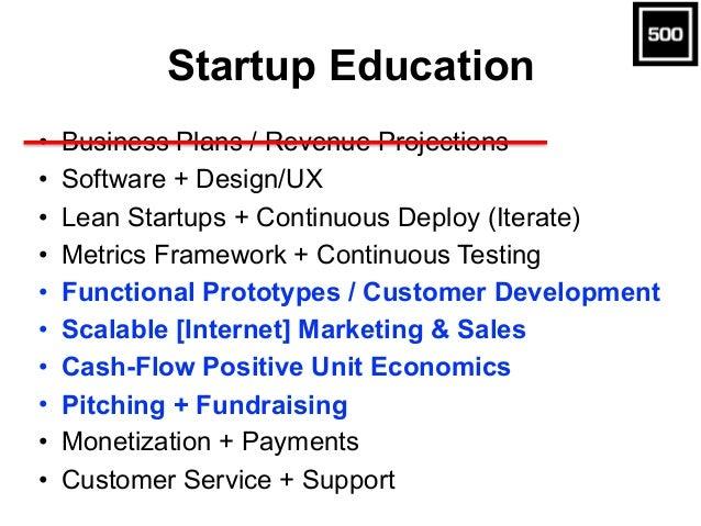 Startup Education • Business Plans / Revenue Projections • Software + Design/UX • Lean Startups + Continuous Deploy (Itera...