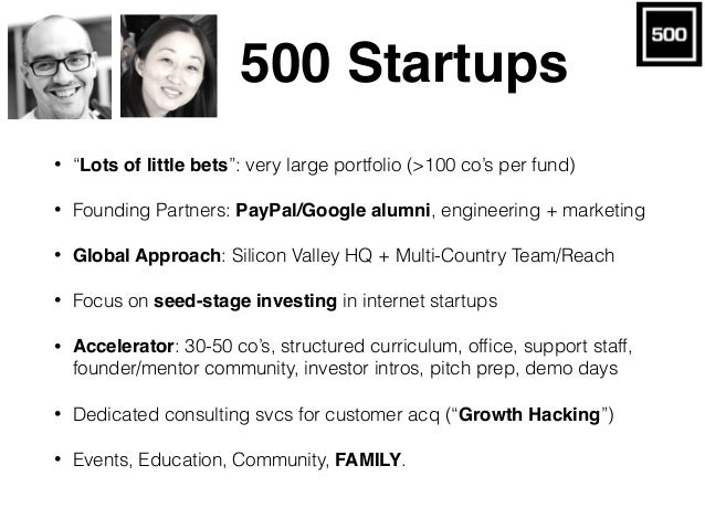 """500 Startups • """"Lots of little bets"""": very large portfolio (>100 co's per fund) • Founding Partners: PayPal/Google alumni,..."""