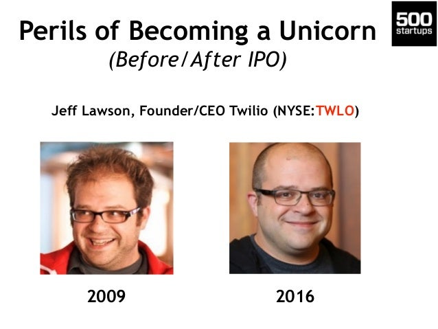 Perils of Becoming a Unicorn (Before/After IPO) 2009 2016 Jeff Lawson, Founder/CEO Twilio (NYSE:TWLO)