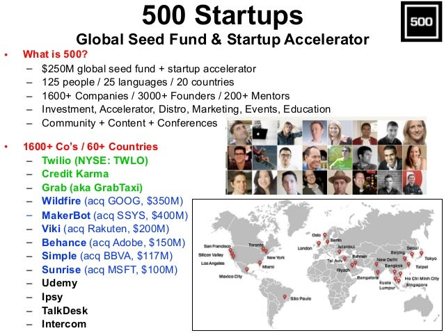 • What is 500? – $250M global seed fund + startup accelerator – 125 people / 25 languages / 20 countries – 1600+ Companies...