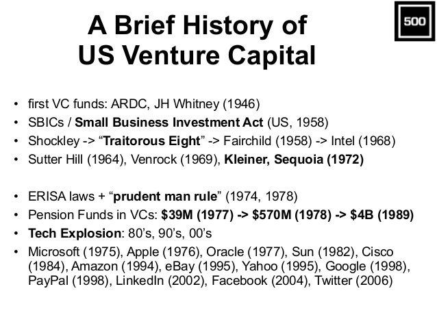 A Brief History of US Venture Capital • first VC funds: ARDC, JH Whitney (1946) • SBICs / Small Business Investment Act (U...
