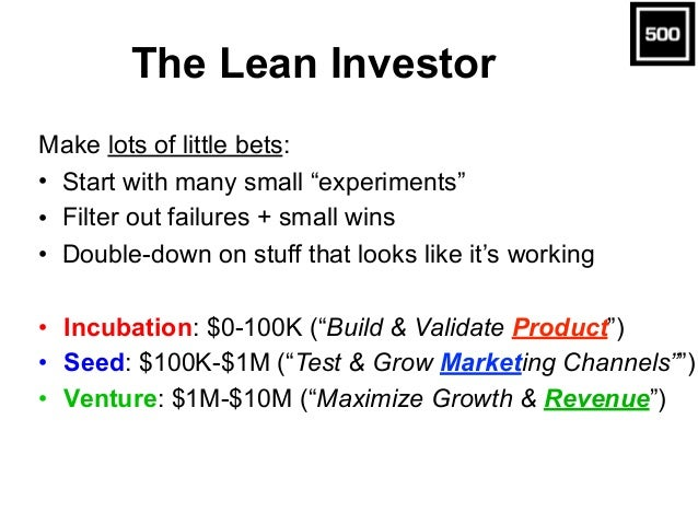 """The Lean Investor Make lots of little bets: • Start with many small """"experiments"""" • Filter out failures + small wins • Dou..."""