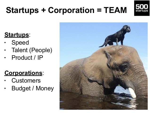 Startups + Corporation = TEAM 31 Startups: • Speed • Talent (People) • Product / IP Corporations: • Customers • Budget / M...