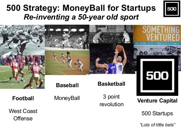"Football West Coast Offense Baseball MoneyBall Basketball 3 point revolution Venture Capital 500 Startups ""Lots of little ..."