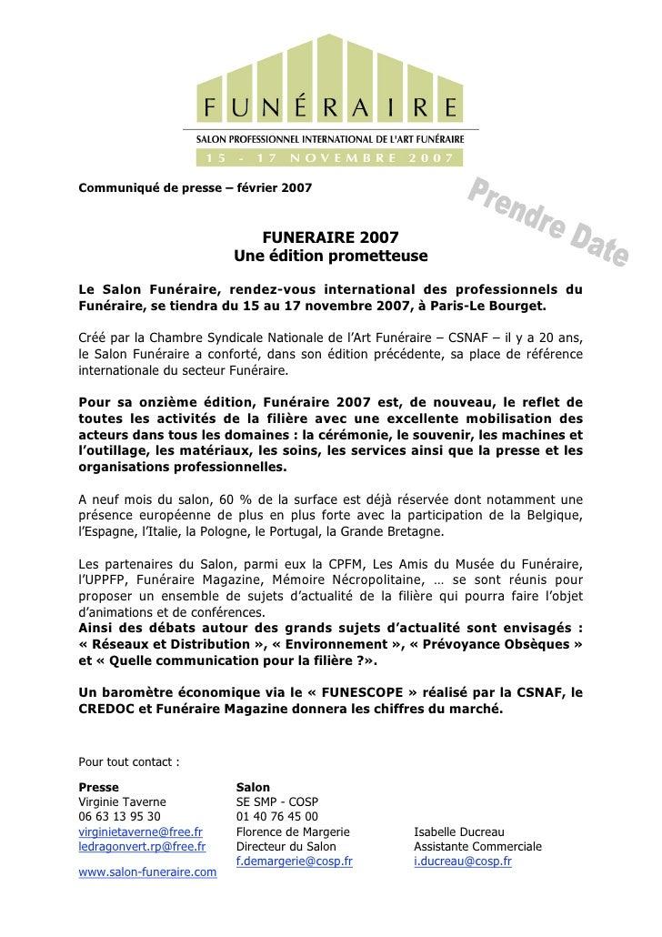 Communiqué de presse – février 2007                                 FUNERAIRE 2007                           Une édition p...