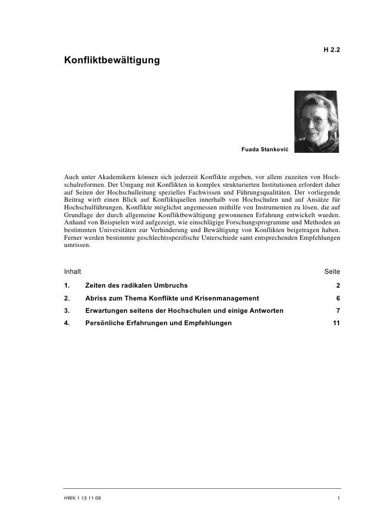 H 2.2Konfliktbewältigung                                                             Fuada StankovićAuch unter Akademikern...