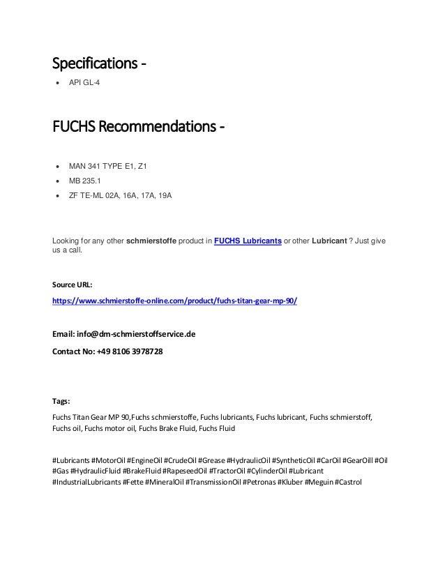Fuchs Titan Gear Mp 90 | Schmierstoffe-online com
