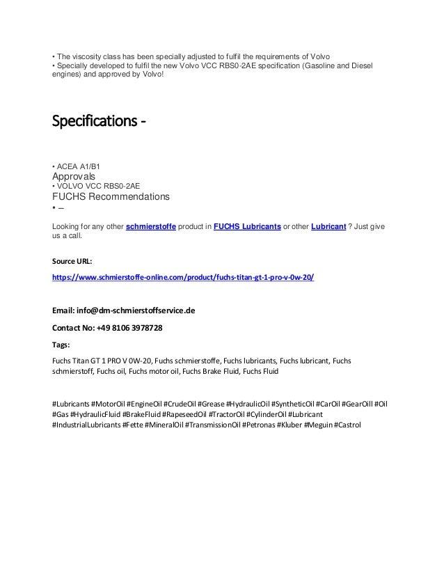 Fuchs Titan Gt 1 Pro V 0w-20   Schmierstoffe-online com