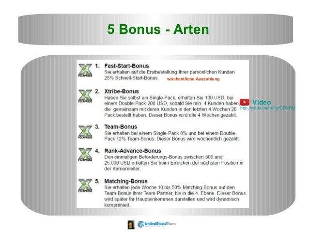 5 Bonus - Arten wöchentliche Auszahlung Video http://youtu.be/mIKgrSDlzRM