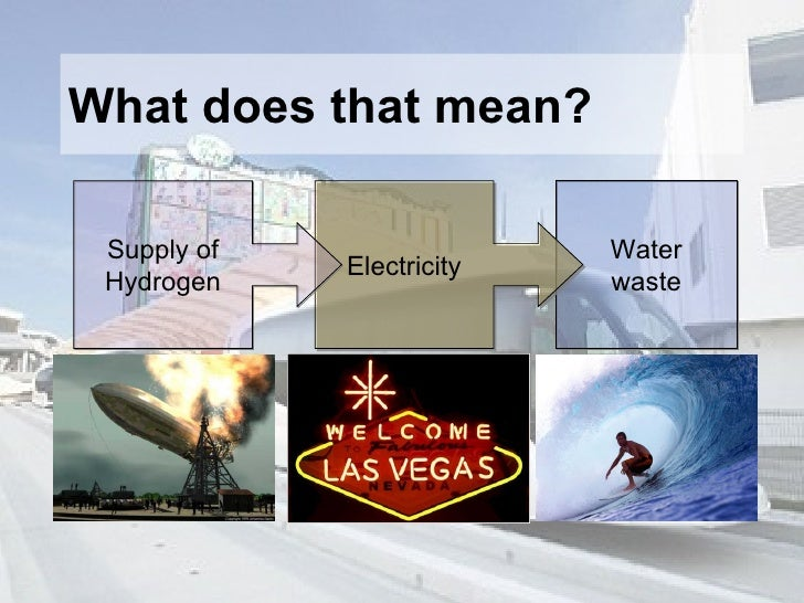 What does that mean? Water waste Electricity Supply of Hydrogen