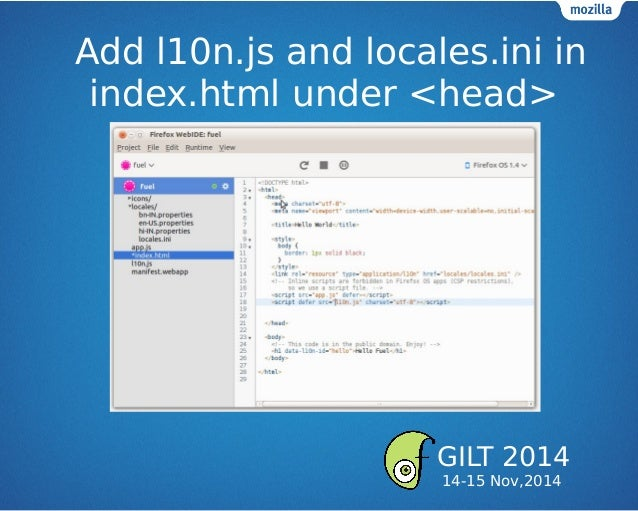 Add l10n.js and locales.ini in index.html under <head> GILT 2014 14-15 Nov,2014