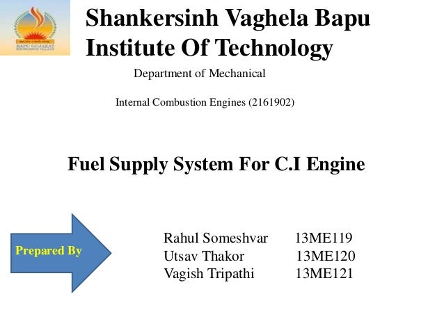 Shankersinh Vaghela Bapu Institute Of Technology Department of Mechanical Internal Combustion Engines (2161902) Prepared B...