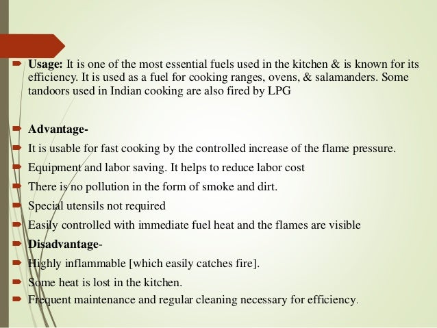 Types Of Fuels Used In Kitchen
