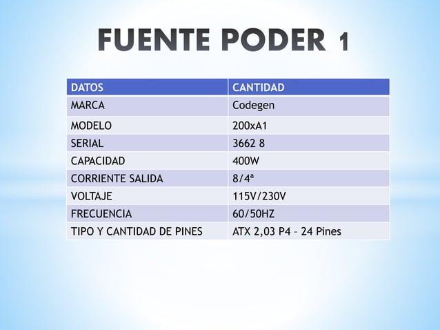DATOS CANTIDAD MARCA Janus MODELO 300x SERIAL 081001887 CAPACIDAD 300w CORRIENTE SALIDA 8-4 A VOLTAJE 115-230V FRECUENCIA ...