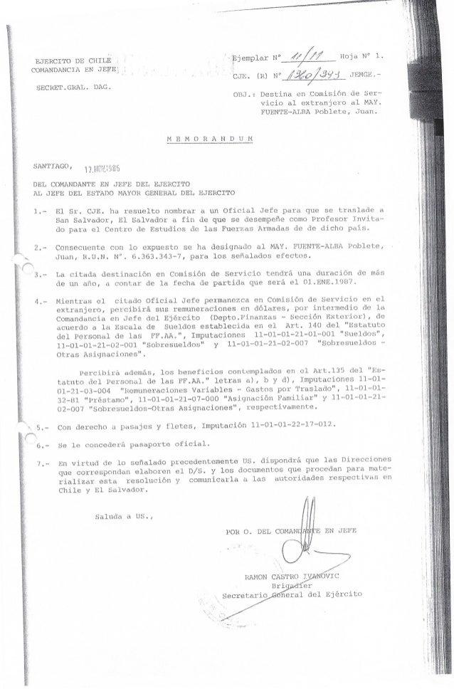 Destinación de Mayor Fuente-Alba a El Salvador 1987