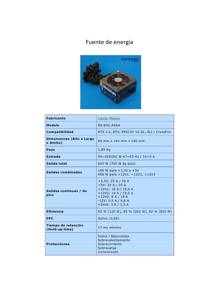 Fuente de energia<br />1777365166370<br />FabricanteCoolerMasterModeloRS-600-ASAACompatibilidadATX 2.2, BTX, EPS12V V2.91...