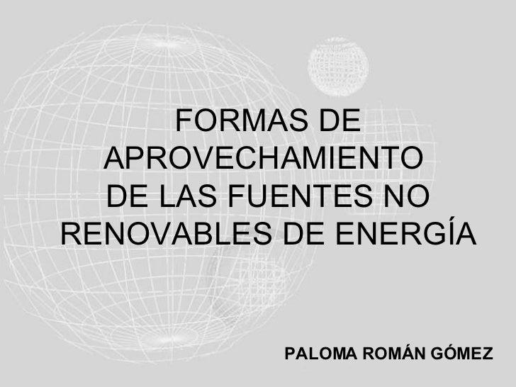 FORMAS DE   APROVECHAMIENTO   DE LAS FUENTES NO RENOVABLES DE ENERGÍA              PALOMA ROMÁN GÓMEZ