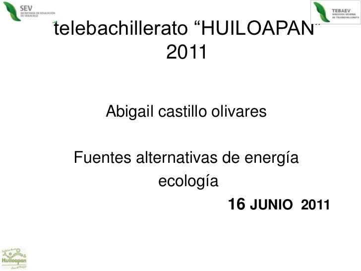 """telebachillerato """"HUILOAPAN"""" 2011<br />Abigail castillo olivares<br />Fuentes alternativas de energía<br /> ecología<br />..."""