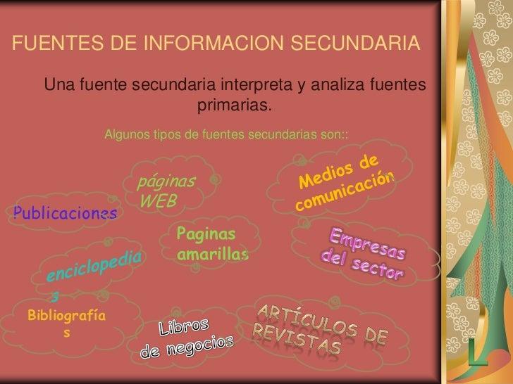 Fuentes de datos secundarios:  FUENTES DE DATOS SECUNDARIOS                    EJEMPLOS                                 Es...