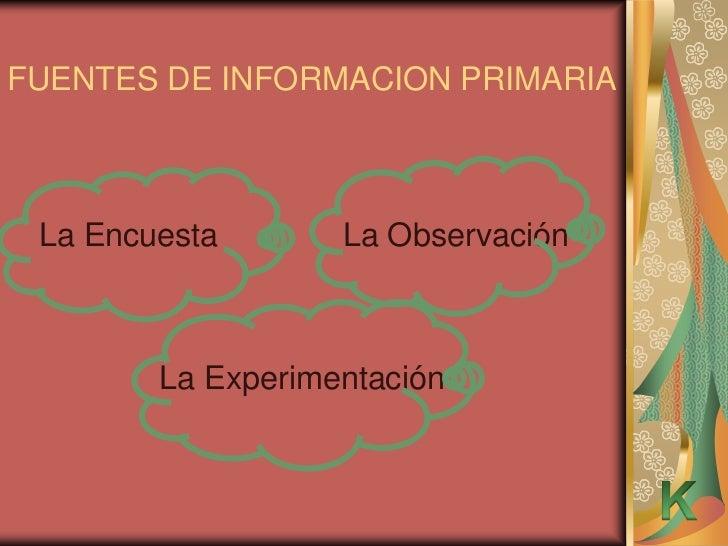 FUENTES DE INFORMACION PRIMARIA La Encuesta       La Observación        La Experimentación