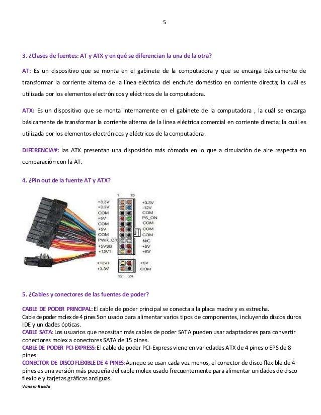 5  3. ¿Clases de fuentes: AT y ATX y en qué se diferencian la una de la otra? AT: Es un dispositivo que se monta en el gab...