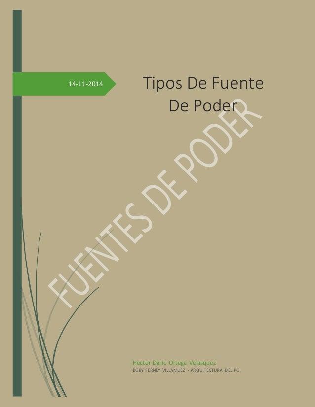 14-11-2014  Tipos De Fuente  De Poder  Hector Dario Ortega Velasquez  BOBY FERNEY VILLAMUEZ - ARQUITECTURA DEL PC