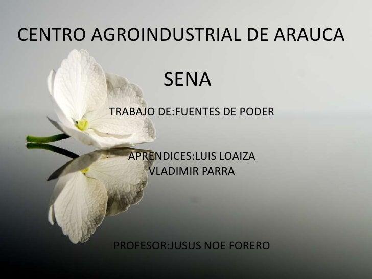 CENTRO AGROINDUSTRIAL DE ARAUCA<br />SENA<br />TRABAJO DE:FUENTES DE PODER<br />APRENDICES:LUIS LOAIZA<br />VLADIMIR PARRA...