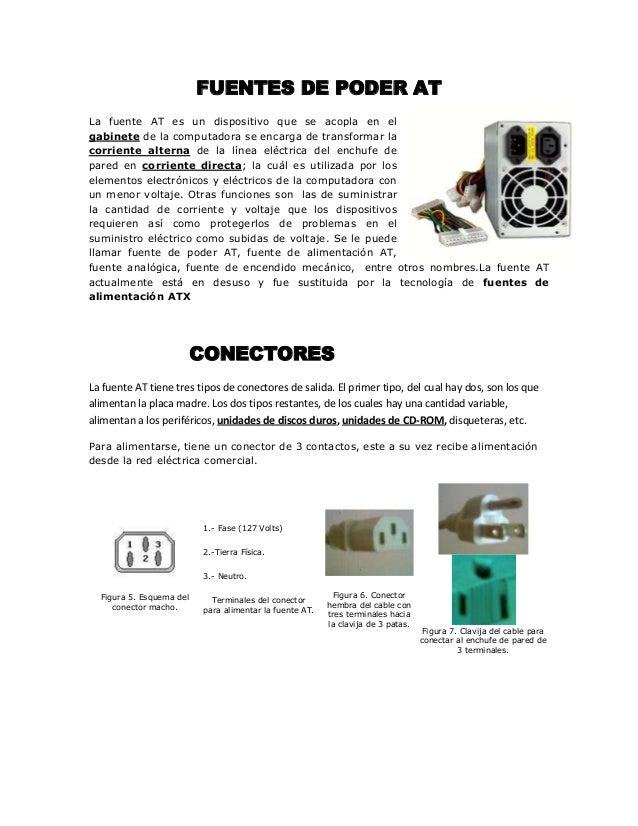 FUENTES DE PODER AT La fuente AT es un dispositivo que se acopla en el gabinete de la computadora se encarga de transforma...