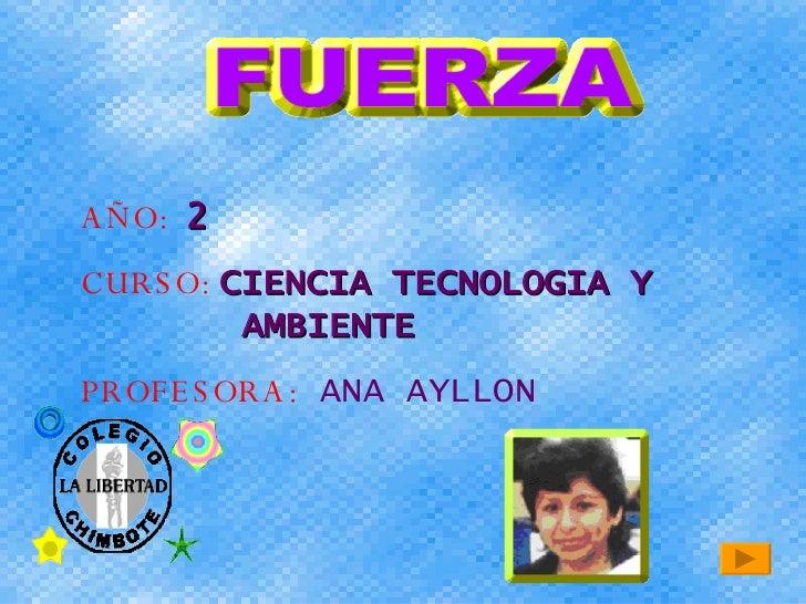 AÑO:  2 CURSO:  CIENCIA TECNOLOGIA Y  AMBIENTE PROFESORA:   ANA AYLLON