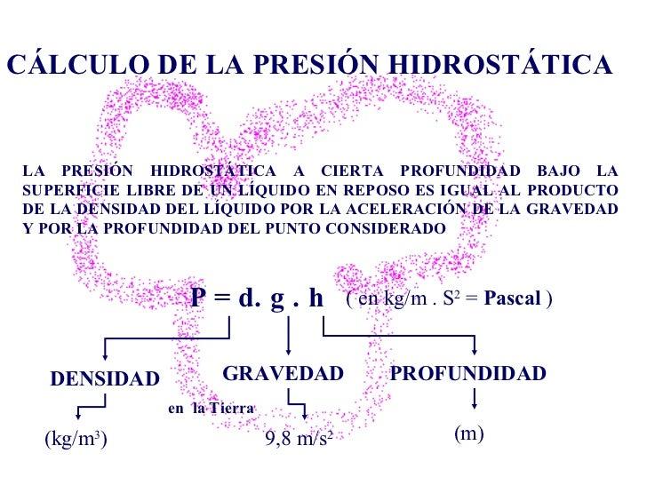 CÁLCULO DE LA PRESIÓN HIDROSTÁTICA LA PRESIÓN HIDROSTÁTICA A CIERTA PROFUNDIDAD BAJO LA SUPERFICIE LIBRE DE UN LÍQUIDO EN ...