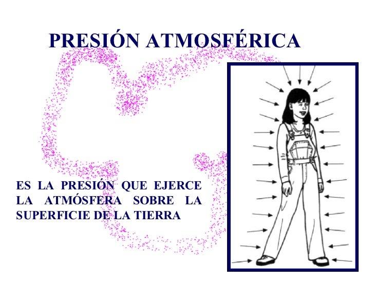 PRESIÓN ATMOSFÉRICA ES LA PRESIÓN QUE EJERCE LA ATMÓSFERA SOBRE LA SUPERFICIE DE LA TIERRA