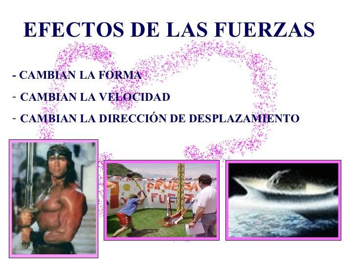 EFECTOS DE LAS FUERZAS <ul><li>- CAMBIAN LA FORMA  </li></ul><ul><li>CAMBIAN LA VELOCIDAD  </li></ul><ul><li>CAMBIAN LA DI...
