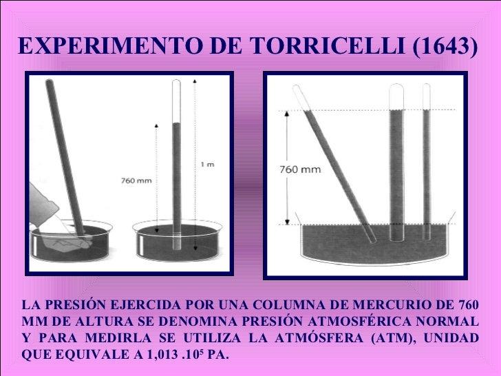 EXPERIMENTO DE TORRICELLI (1643) LA PRESIÓN EJERCIDA POR UNA COLUMNA DE MERCURIO DE 760 MM DE ALTURA SE DENOMINA PRESIÓN A...
