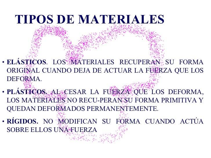 TIPOS DE MATERIALES • ELÁSTICOS . LOS MATERIALES RECUPERAN SU FORMA ORIGINAL CUANDO DEJA DE ACTUAR LA FUERZA QUE LOS DEFOR...
