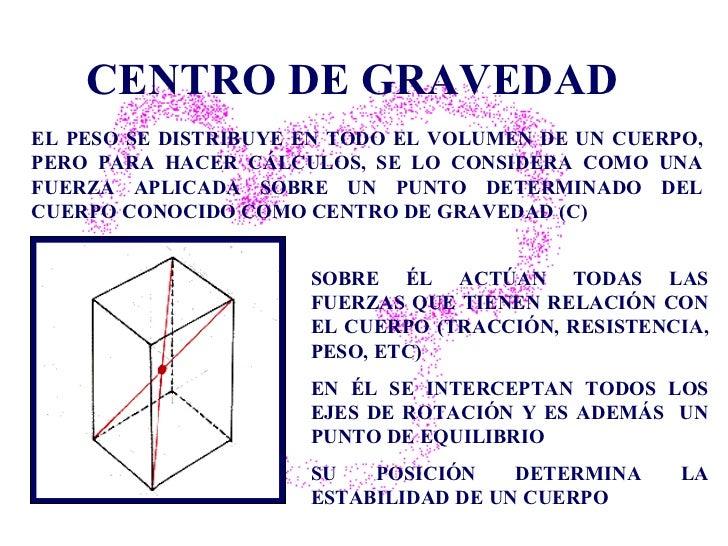 CENTRO DE GRAVEDAD SOBRE  ÉL  ACTÚAN TODAS LAS FUERZAS QUE TIENEN RELACIÓN CON  EL  CUERPO (TRACCIÓN, RESISTENCIA, PESO, E...