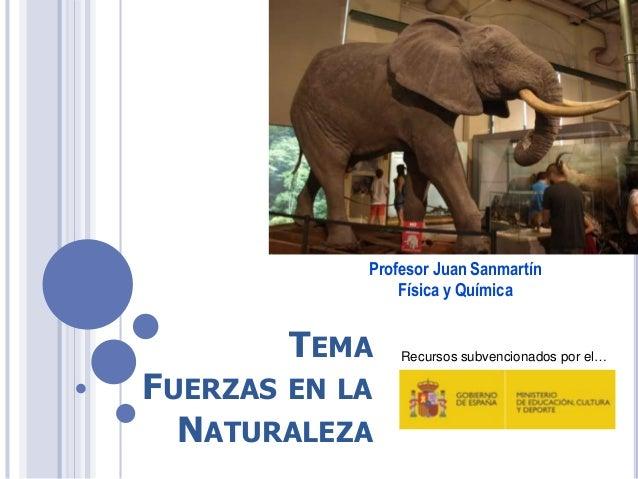 TEMA FUERZAS EN LA NATURALEZA Profesor Juan Sanmartín Física y Química Recursos subvencionados por el…