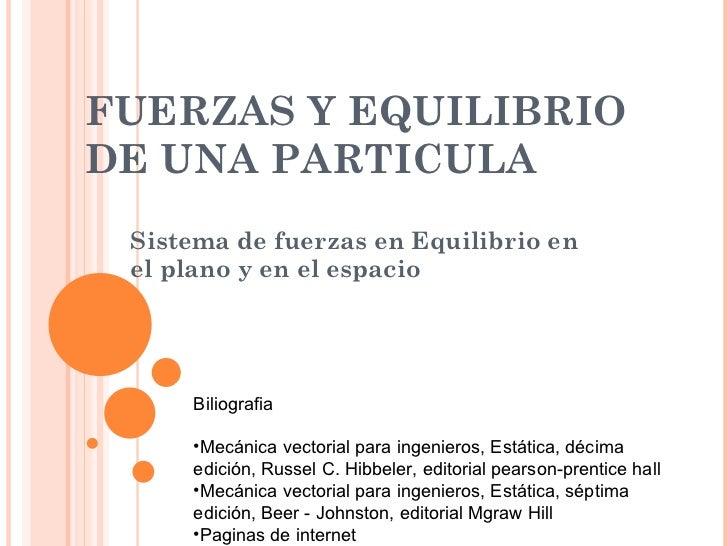 FUERZAS Y EQUILIBRIO DE UNA PARTICULA Sistema de fuerzas en Equilibrio en el plano y en el espacio <ul><li>Biliografia </l...